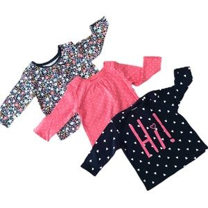 Set of Three Printed Long-sleeved Onesies.